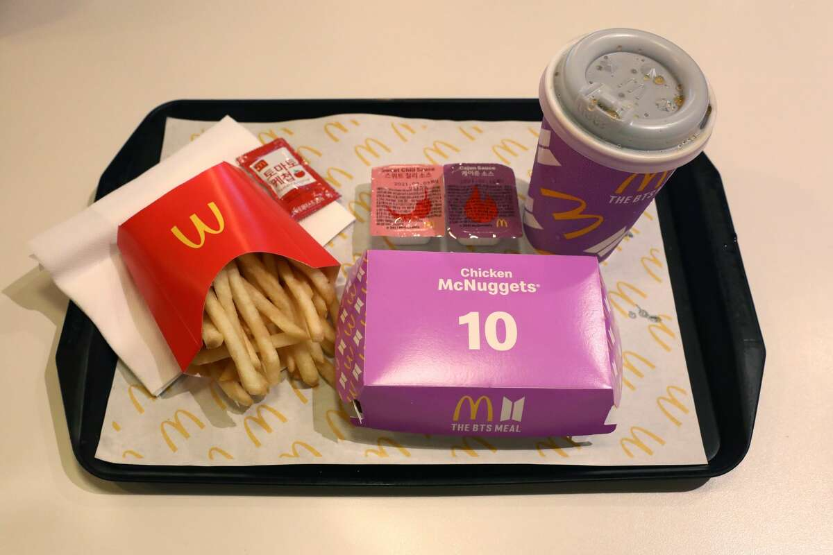 SEOUL, SOUTH KOREA - MAY 27: McDonald's BTS meal is seen on May 27, 2021 in Seoul, South Korea. McDonald's has released a new celebrity meal 'BTS Meal' in collaboration with BTS on May 27, 2021 in South Korea. The meal will be available in total of 49 countries. (Photo by Chung Sung-Jun/Getty Images)