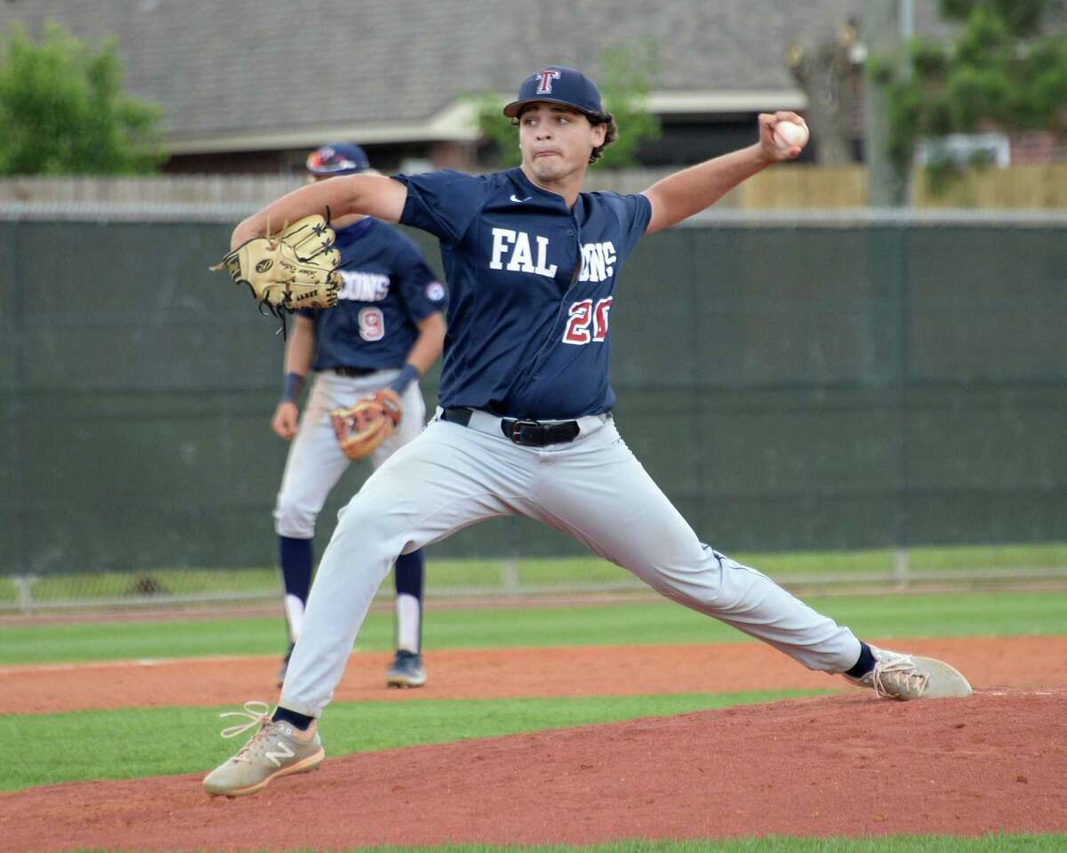 Solomon Rotberg (20) of Tompkins delivers a pitch during the fifth inning of a 6A Region III bi-district baseball playoff game between the Tompkins Falcons and the Elkins Knights on Saturday, May 8, 2021 at Tompkins HS, Katy, TX.