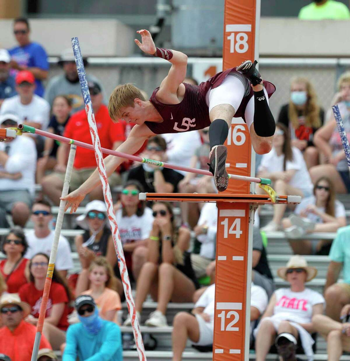 William Saxman of Cinco Ranch competes in the boys pole vault during the Class 6A UIL Track and Field Championships at Mike A. Myers Stadium, Saturday, May 8, 2021, in Austin.