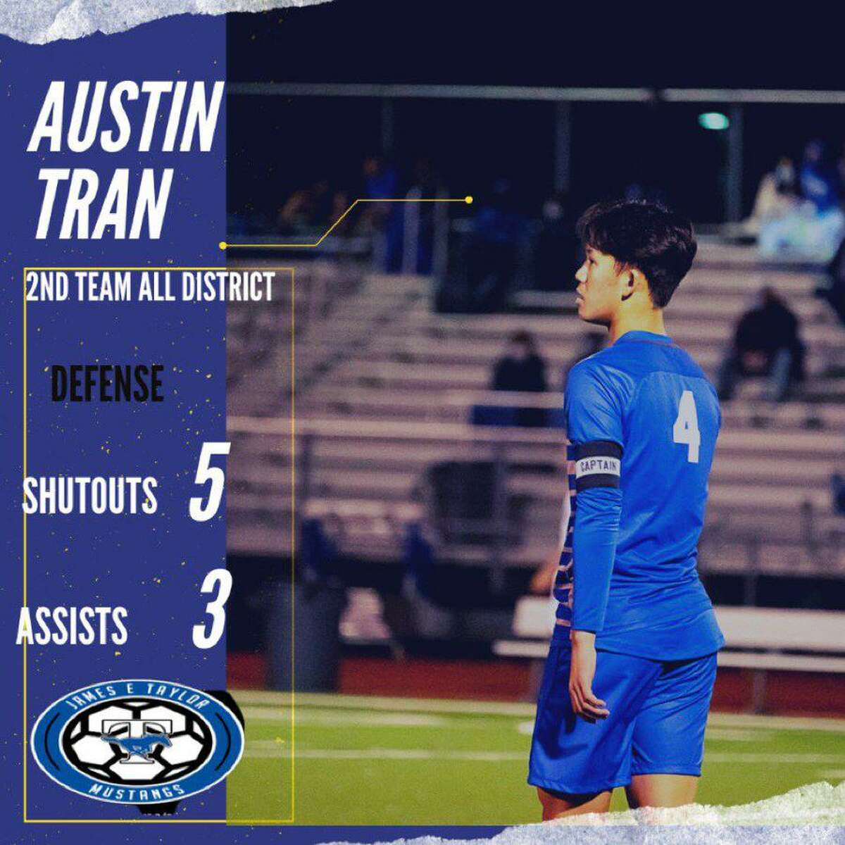 Katy Taylor senior Austin Tran was one of five Mustangs soccer players recognized on the Texas High School Coaches Association academic all-state team.
