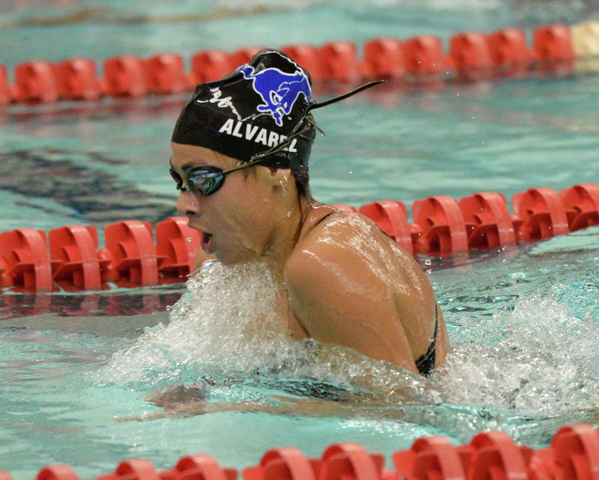 Abbie Alvarez of Taylor High School participates in the girls 200 yard individual medley event during the District 19-6A Swimming and Diving Championships on January 18, 2020 at the Katy HS Natatorium, Katy, TX.