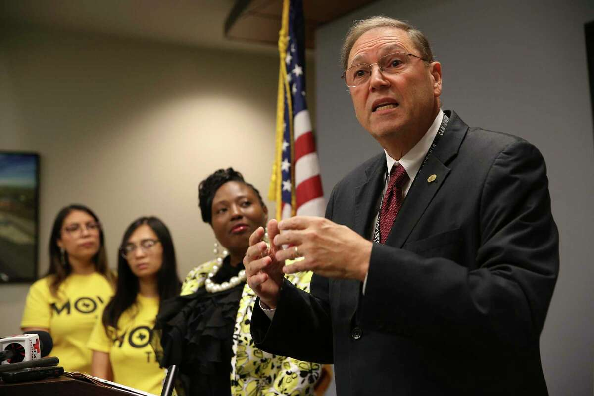 San Antonio City Council member John Courage answers questions during a press conference at the San Antonio Public Safety Headquarters, Tuesday, Aug. 27, 2019.