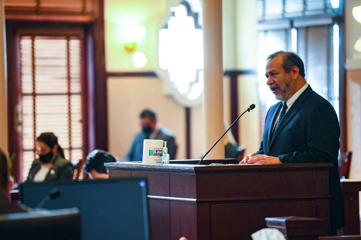 """District Court Judge Ron Rangel, shown appearing before Bexar County Commissioners Court in April, called creation of a new system to manage indigent defense cases """"the next step in criminal justice reform in Bexar County."""""""