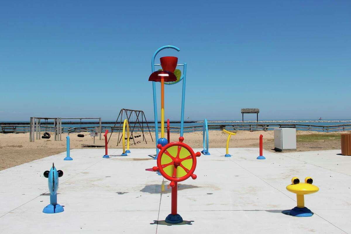 The completed splash pad in Port Austin, which will officially open to the public on June 4. The pad will be dedicated in the memory of Shari Babcock Etzel, who died in 2017.(Robert Creenan/Huron Daily Tribune)