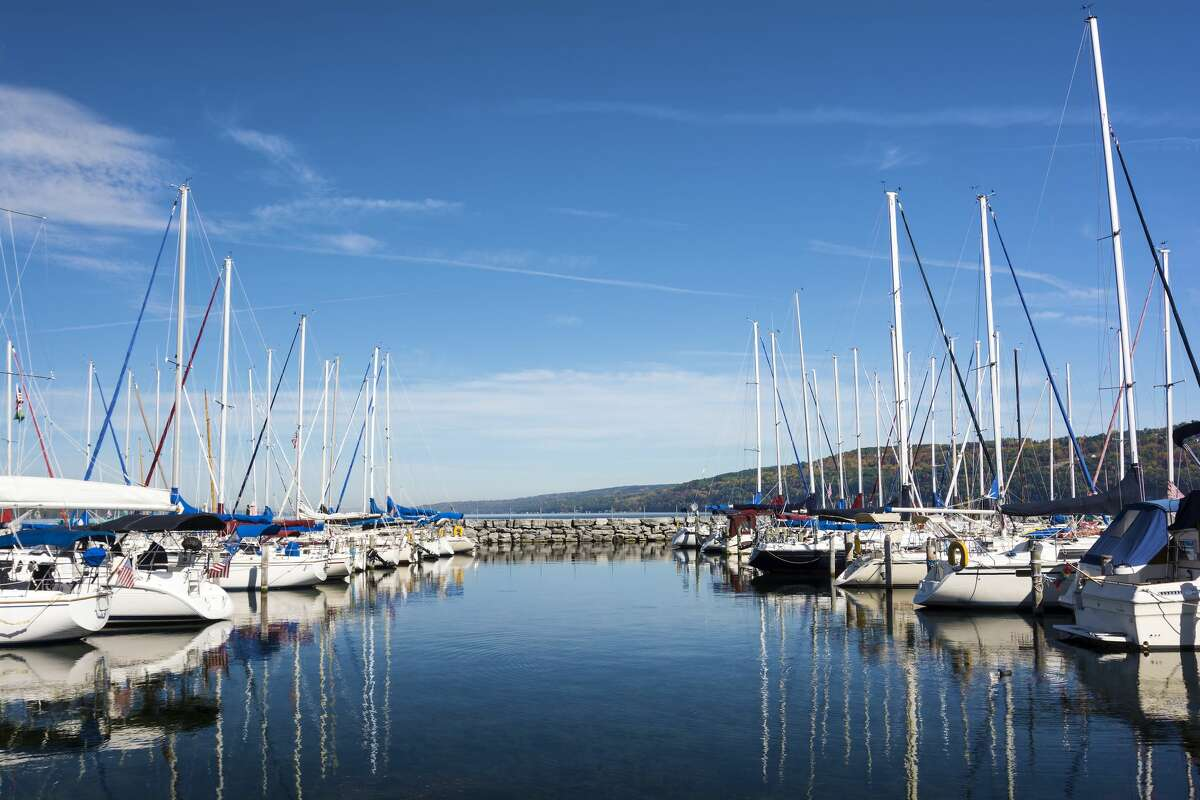 Lots of sails boats at the boat marina harbor at the southern end of Seneca lake in Watkins Glen New York on a beautiful blue sky day in autumn. (Courtesy of Harbor Hotel Collection)