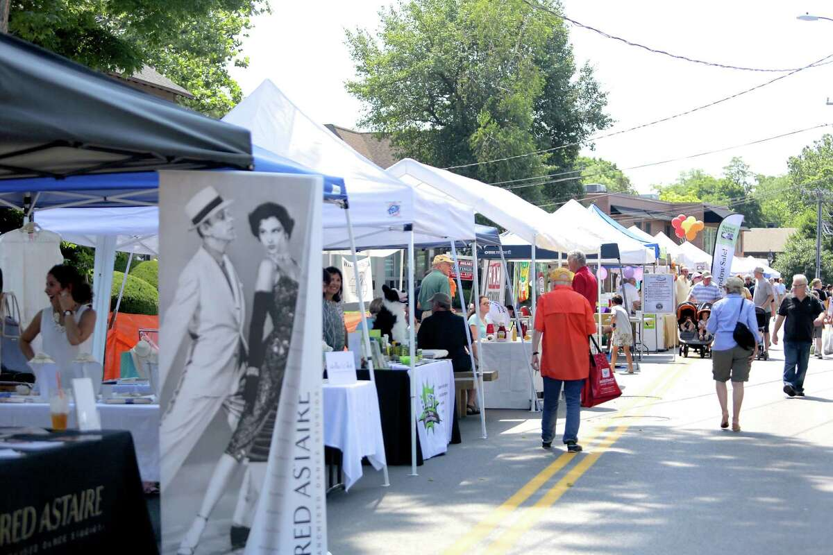 The scene of the fifth annual Wilton street fair, and sidewalk sales is pictured during a previous year. The Wilton Chamber of Comemrce is having the ninth annual events on Saturday, July 24, 2021, from 10 a.m. to 3 p.m.