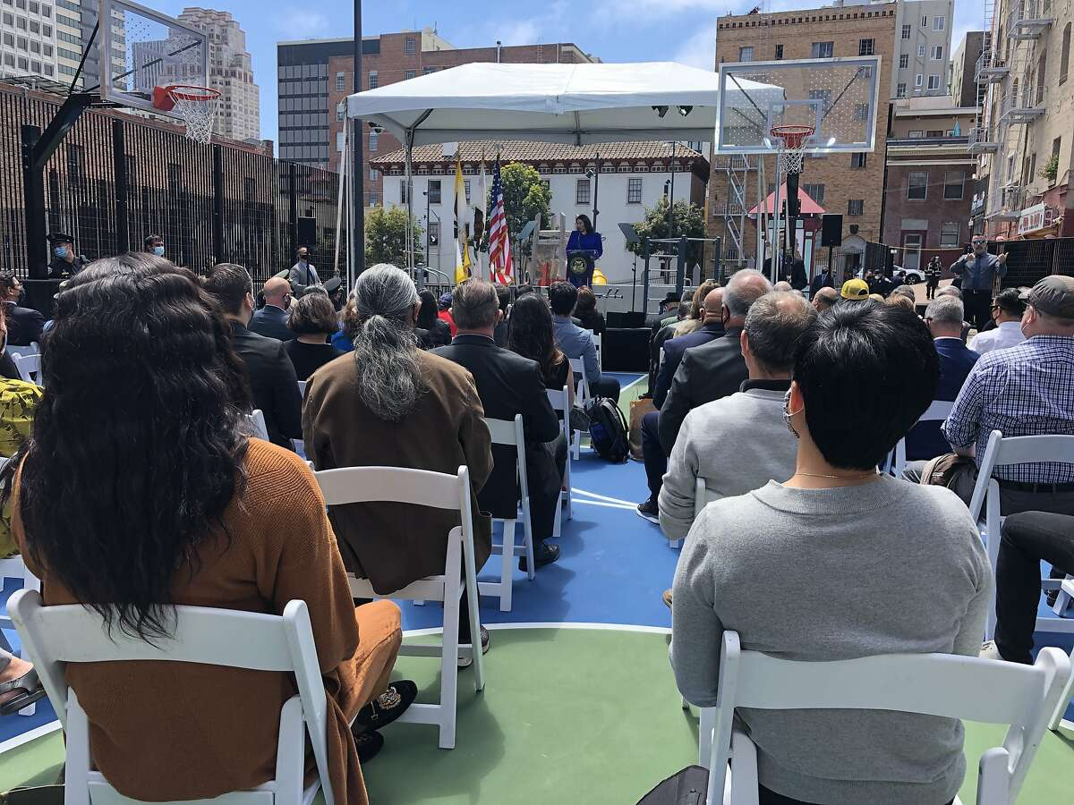 """San Francisco mayor London Breed addresses the audience gathered at the Willie """"Woo Woo"""" Wong Playground on Tuesday, June 1, 2021 in San Francisco, Calif. Bree was introducing her two-year budget plan which includes significant new spending to address the homelessness issue in San Francisco."""