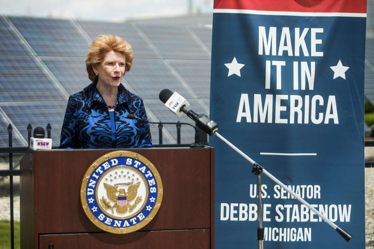 U.S. Sen. Debbie Stabenow discusses her efforts to advance the next generation of American manufacturing during a press conference at Hemlock Semiconductor Tuesday, June 1, 2021. (Katy Kildee/kkildee@mdn.net)