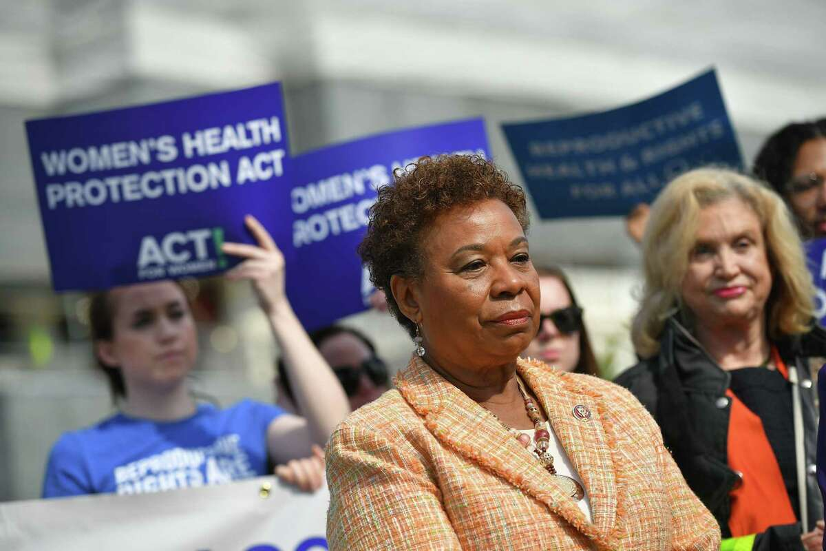 Rep. Barbara Lee attends news conference on the reintroduction of the Women's Health Protection Act in 2019.