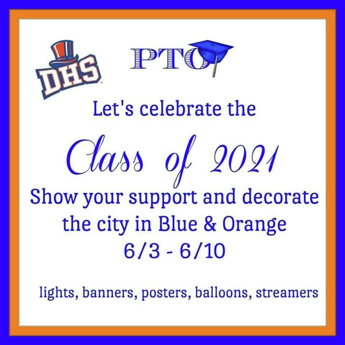 The Parent Teacher Organization plans to decorate the city in blue and orange to celebrate Danbury High School's Class of 2021.