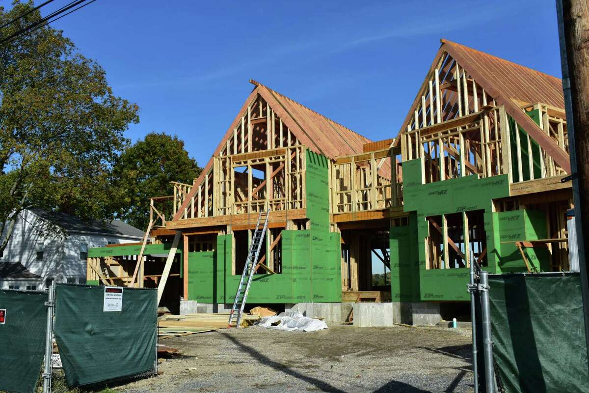A file photo of a Shorefront Park home under construction in Norwalk, Conn.