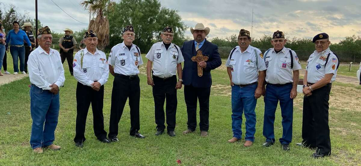 Zapata County Sheriff Raymundo Del Bosque Jr. holds a token of appreciation presented by the Veterans of Zapata. The veterans presented this token of appreciation to Del Bosque for what he has done for them.