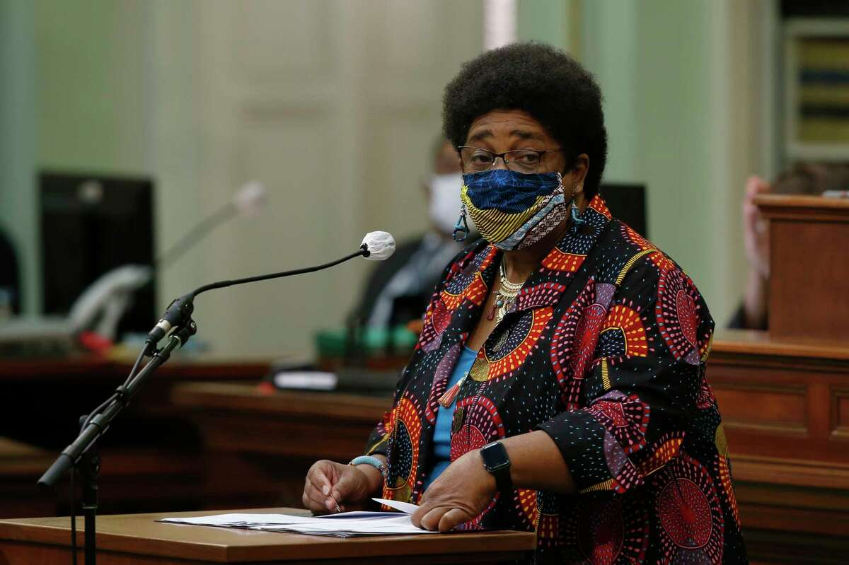 FILE - In this June 11, 2020, file photo, then-Assemblywoman Shirley Weber calls on lawmakers to create a task force to study and develop reparation proposals for African Americans, during the Assembly session in Sacramento, Calif. A landmark California committee to study reparations for African Americans is meeting for its first time, Tuesday, June 1, 2021, launching a two-year process to address the harms of slavery and systemic racism. Secretary of State Shirley Weber, who as an assemblymember authored the legislation creating the task force, noted the solemnity of the occasion as well as the opportunity to right an historic wrong. (AP Photo/Rich Pedroncelli, File)