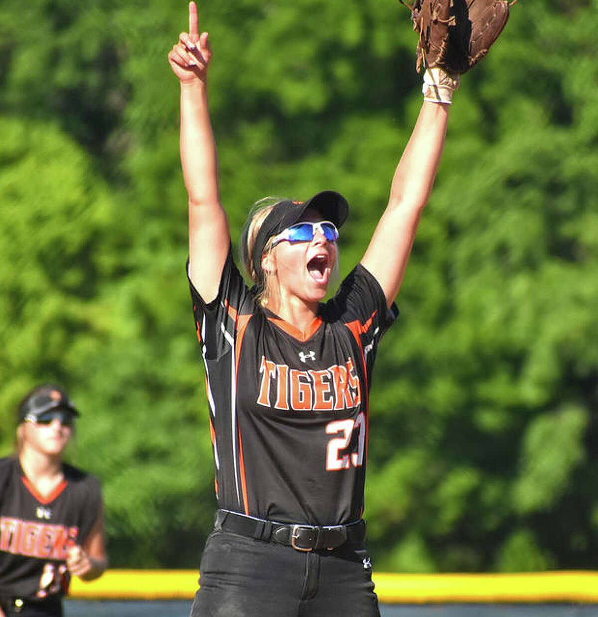 Edwardsville second baseman Lexi Gorniak reacts after an out is recorded during a win over O'Fallon on Wednesday.