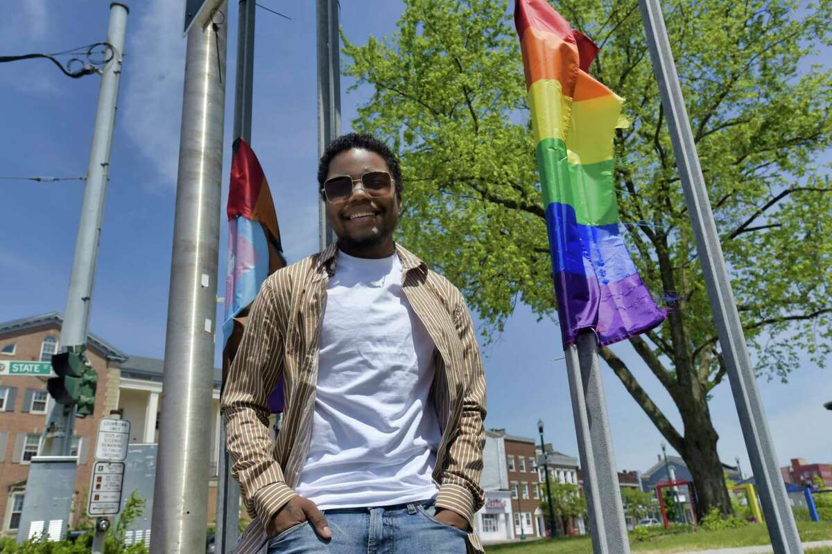 Safe Haven LGBTQ founder and CEO Legacy Casanova poses for a photo in Gateway Park on Tuesday, June 1, 2021, in Schenectady, N.Y. Safe Haven LGBTQ is hosting a prom this coming Saturday in Albany. (Paul Buckowski/Times Union)