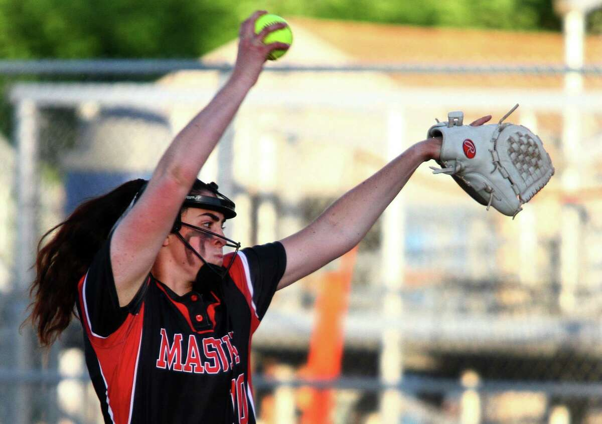 Kathryn Gallant of Masuk throws against Notre Dame of Fairfield in the SWC Championship Women's Softball game at DeLuca Field in Stratford, Connecticut on Thursday, May 27, 2021.