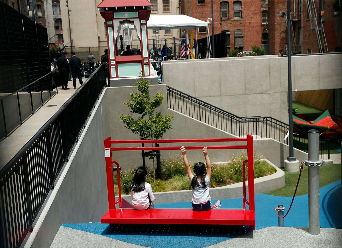 """S.F. Mayor London Breed unveils her two-year budget proposal at Willie """"Woo Woo"""" Wong Playground in Chinatown on Tuesday. Her plan includes $1 billion to address homelessness."""