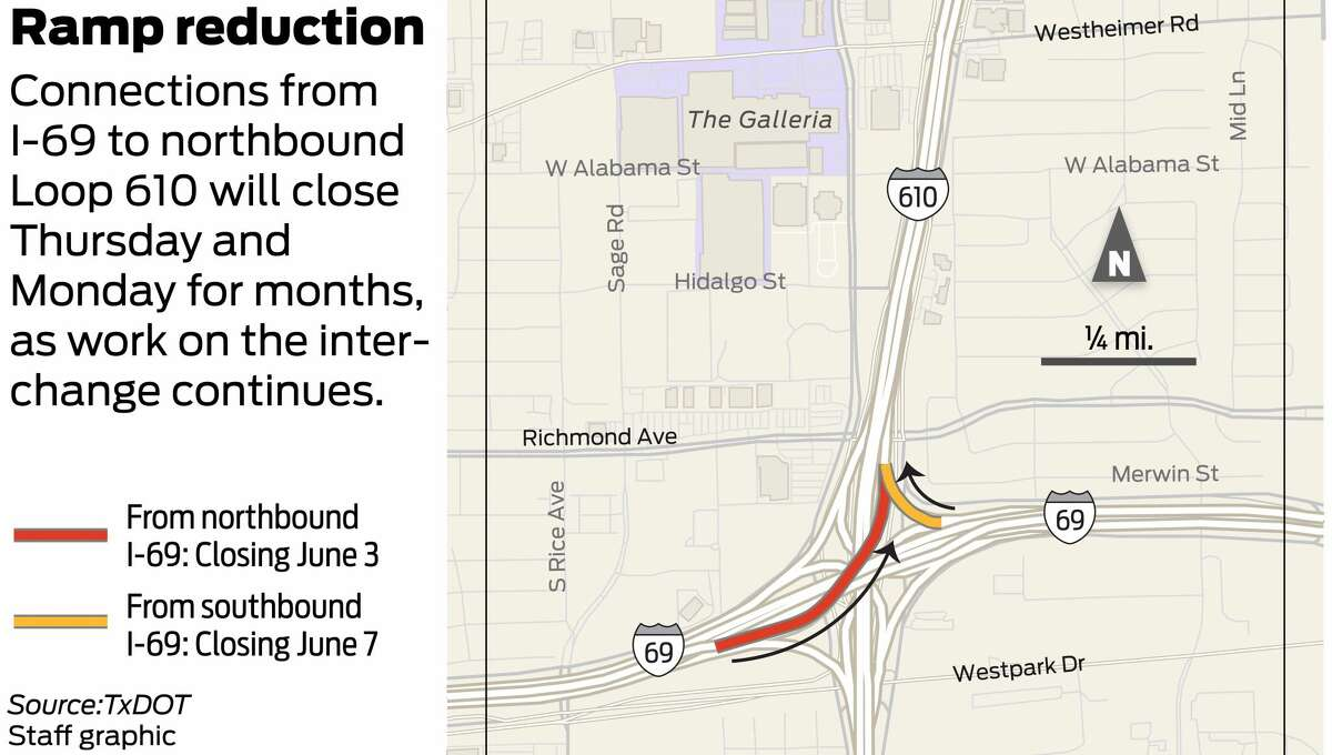Map showing work at the Loop 610/I-69 interchange.