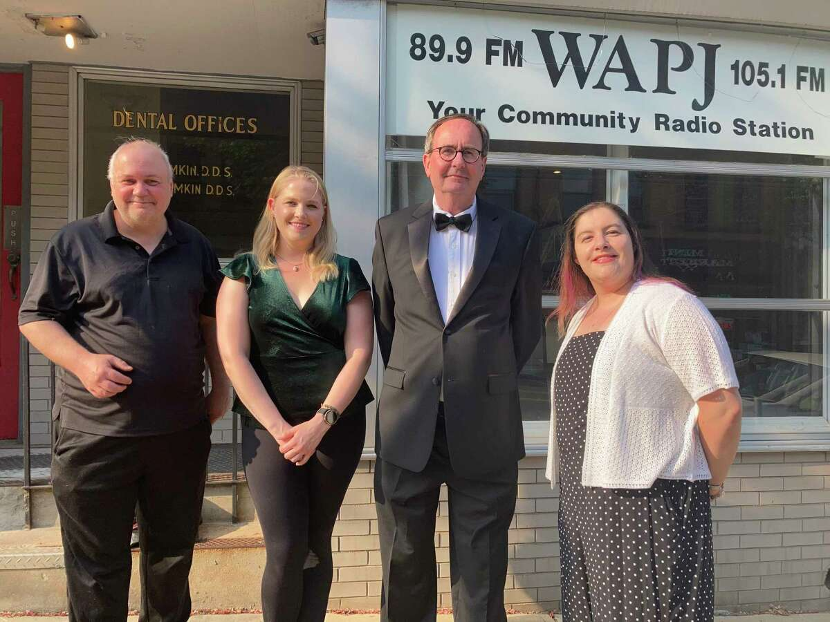 """From left, playwright, producer J. Timothy Quirk, Devon Richtmeyer as Irene Adler, Humphry Rolleston as Barnaby and director AJ Lin, of """"Barnaby Druthers"""" a radio play coming to WAPJ radio in Torrington in June. """"Barnaby Druthers"""", an audio theater series created within the Nutmeg Junction anthology radio program, launches as a series on WAPJ beginning June 6."""