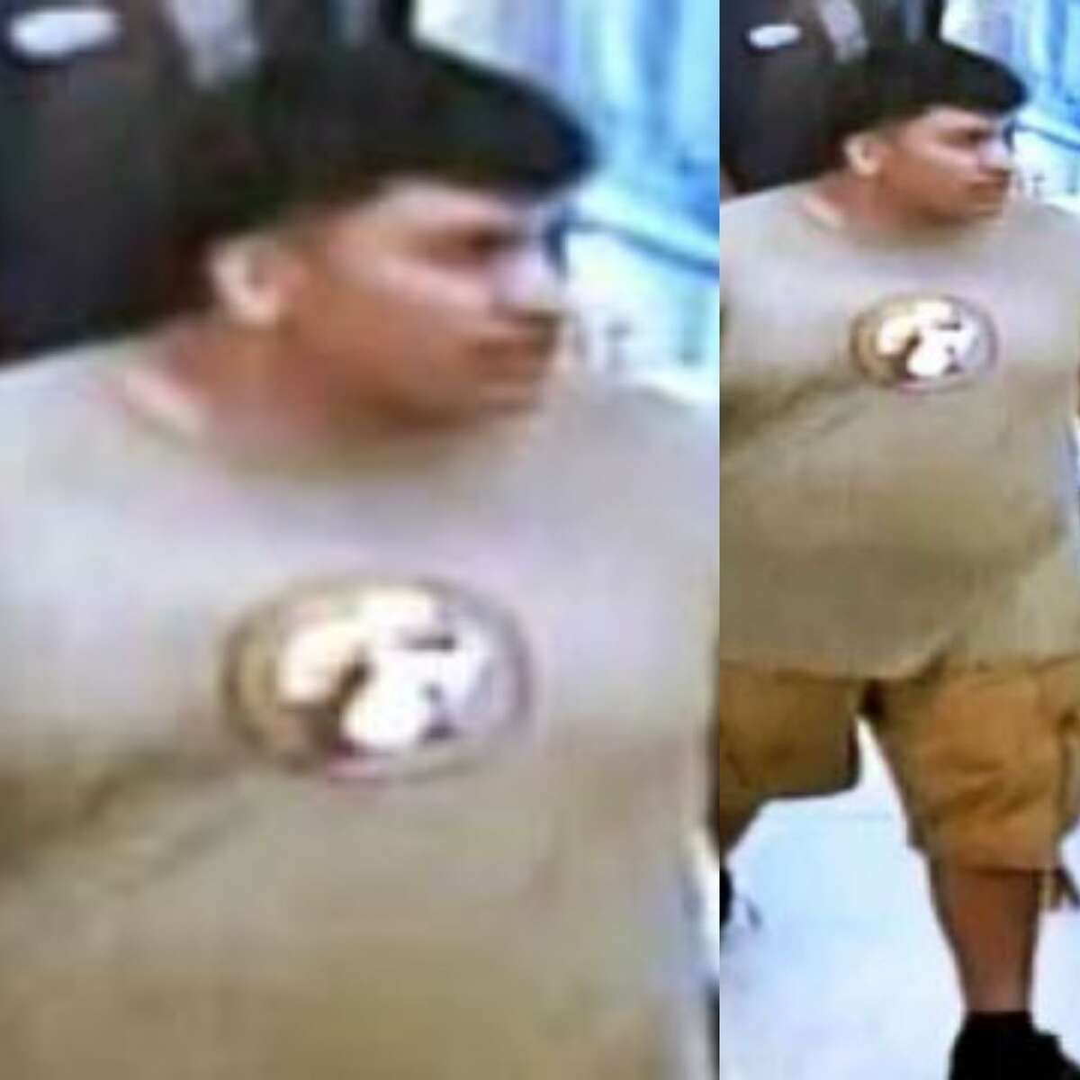A man authorities have signaled as responsible for an assault in New Caney is seen in a Buc-ees T-shirt.