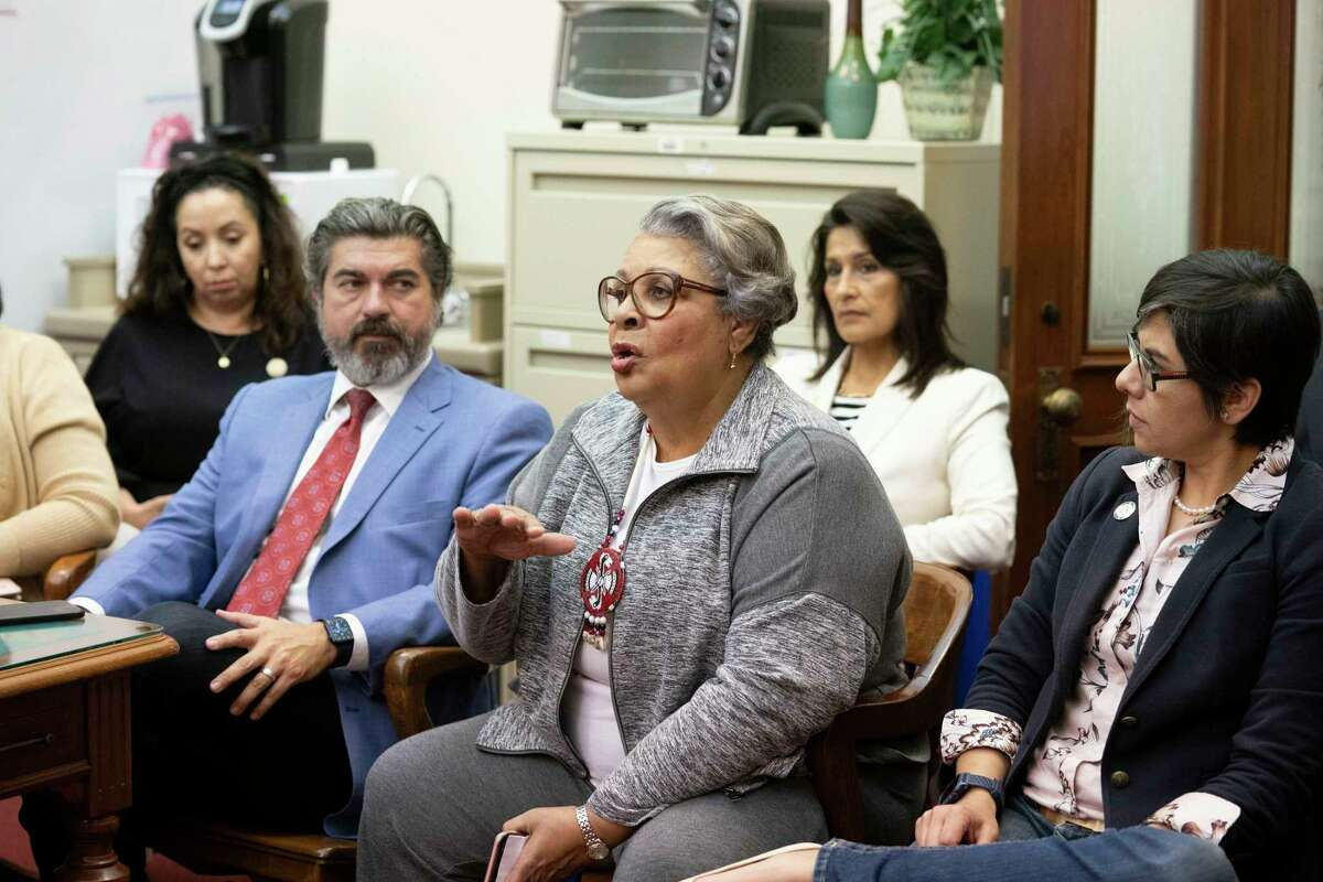 Rep. Senfronia Thompson, D-Houston, and other Brown and Black Democratic members talk to the press on the final day of the 87th Texas Legislature. The group led Sunday's walkout in the chamber that stalled SB 7 the voting rights bill.