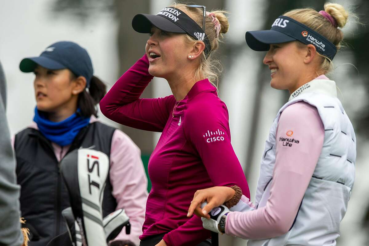 From left: Michelle Wie West, Jessica Korda and her sister Nelly Korda on the ninth hole during a practice round for the U.S. Women's Open at the Olympic Club, Tuesday, June 1, 2021, in San Francisco, Calif.