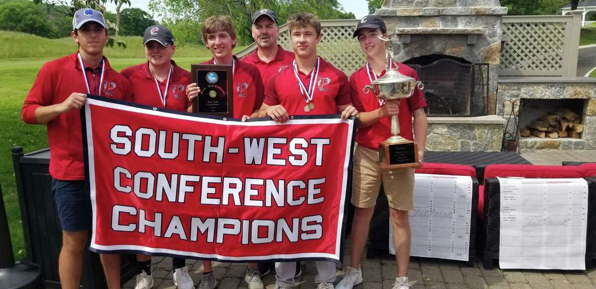 Pomperaug repeated as South-West Conference boys golf champion Tuesday, winning by 32 strokes at Great River Golf Club in Milford.