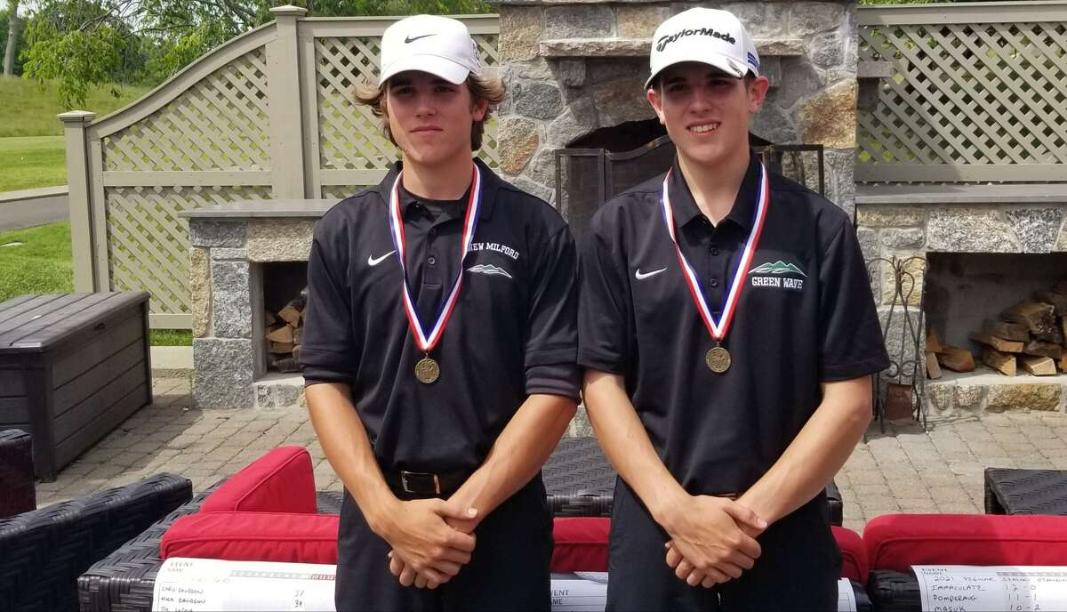 New Milford seniors and brothers Chris, left, and Nick Davidson both shot 75 to share medalist laurels at the SWC championship golf meet Tuesday held at Great River Golf Club in Milford.