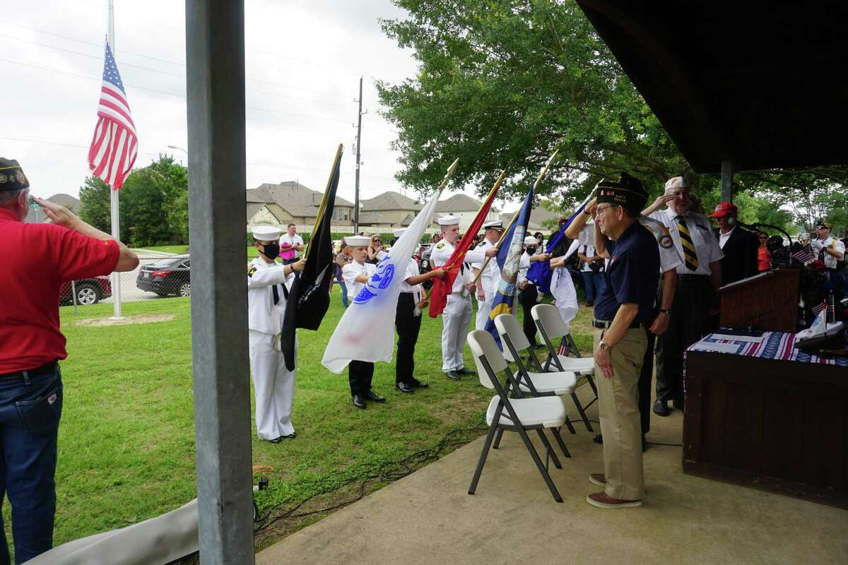 United States flags are on display at a Memorial Day program hosted by Katy Veterans of Foreign Wars Post 9182 on Monday, May 31, at Katy Magnolia Cemetery.