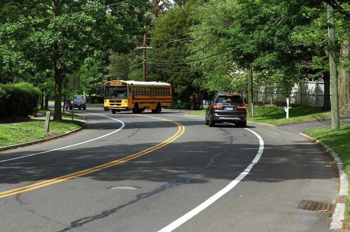 A view of North Street looking toward Park Avenue and Lita Drive in Greenwich, Conn., on Tuesday June 1, 2021. The Board of Selectmen is considering parking restrictions on a section of North Street between Lita Drive and Maple Avenue. There is a safety concern about vehicles parked on the western side of the street causing a line of site issue for people leaving 7 and 9 North Street. If passed, this would restrict parking on both sides of this section betweeen Lita and Maple.