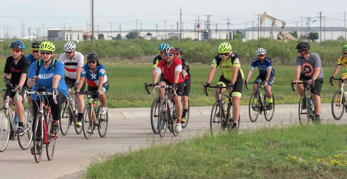 Following two weeks of weather delays, riders depart the CEED parking lot 06/01/2021 during the Permian Basin Ride of Silence. Tim Fischer/Reporter-Telegram