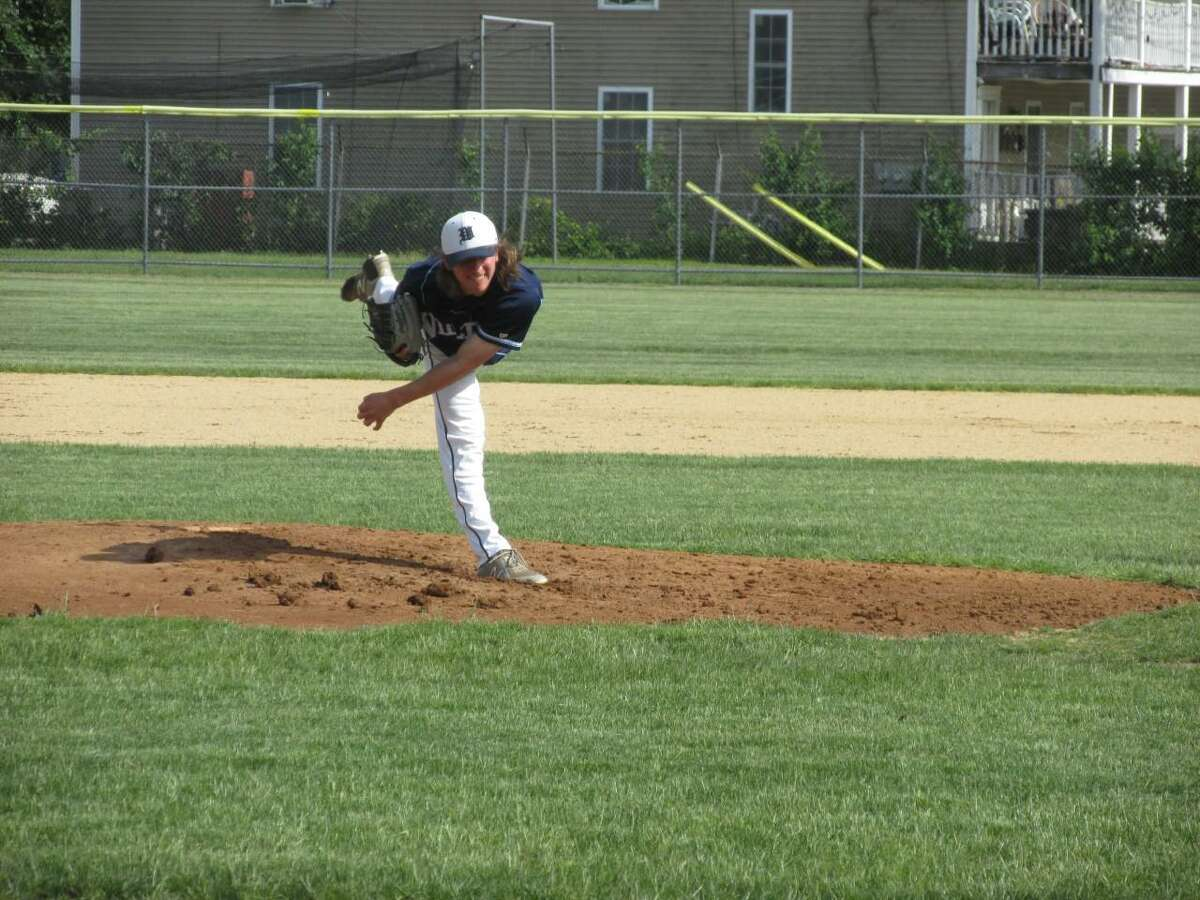 Wilton pitcher Nevin Belanger pitched five one-hit innings before running out of gas in a Warrior first-round Class L baseball win at Torrington's Fuessenich Park Tuesday afternoon.