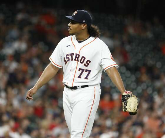 Houston Astros starting pitcher Luis Garcia (77) reacts after Boston Red Sox Rafael Devers flied out to end the top of the fourth inning of an MLB baseball game at Minute Maid Park, Tuesday, June 1, 2021, in Houston. Photo: Karen Warren/Staff Photographer / @2021 Houston Chronicle