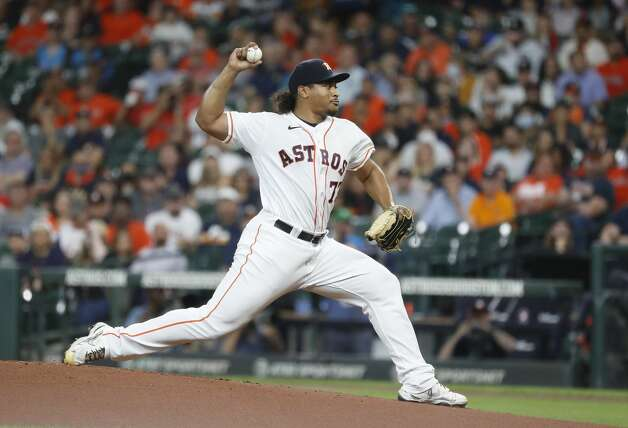 Houston Astros starting pitcher Luis Garcia (77) pitches during the first inning of an MLB baseball game at Minute Maid Park, Tuesday, June 1, 2021, in Houston. Photo: Karen Warren/Staff Photographer / @2021 Houston Chronicle