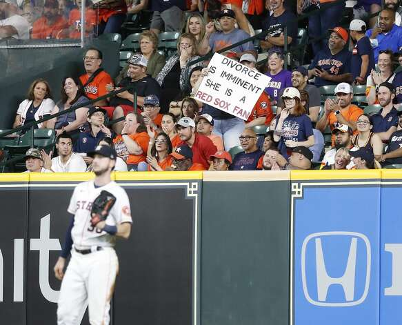Fan in the right field stand with a sign during the second inning of an MLB baseball game at Minute Maid Park, Tuesday, June 1, 2021, in Houston. Photo: Karen Warren/Staff Photographer / @2021 Houston Chronicle