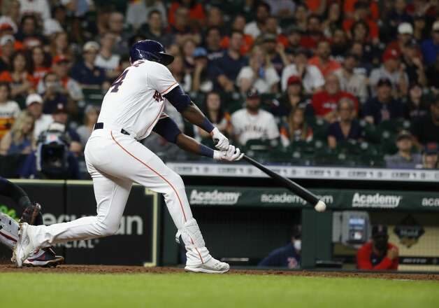 Houston Astros designated hitter Yordan Alvarez (44) hits an RBI single during the seventh inning of an MLB baseball game at Minute Maid Park, Tuesday, June 1, 2021, in Houston. Photo: Karen Warren/Staff Photographer / @2021 Houston Chronicle