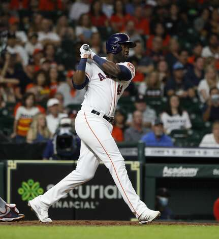 Houston Astros Yordan Alvarez (44) hits into a double play during the sixth inning of an MLB baseball game at Minute Maid Park, Tuesday, June 1, 2021, in Houston. Photo: Karen Warren/Staff Photographer / @2021 Houston Chronicle