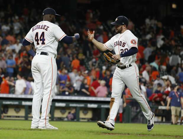 Houston Astros Yordan Alvarez (44) and Chas McCormick (20) celebrate the Astros 5-1 win over the Boston Red Sox after the ninth inning of an MLB baseball game at Minute Maid Park, Tuesday, June 1, 2021, in Houston. Photo: Karen Warren/Staff Photographer / @2021 Houston Chronicle