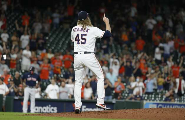 Houston Astros relief pitcher Ryne Stanek (45) reacts after Boston Red Sox Hunter Renfroe struck out swinging to end the ninth inning of an MLB baseball game at Minute Maid Park, Tuesday, June 1, 2021, in Houston. Astros beat the Boston Red Sox 5-1. Photo: Karen Warren/Staff Photographer / @2021 Houston Chronicle
