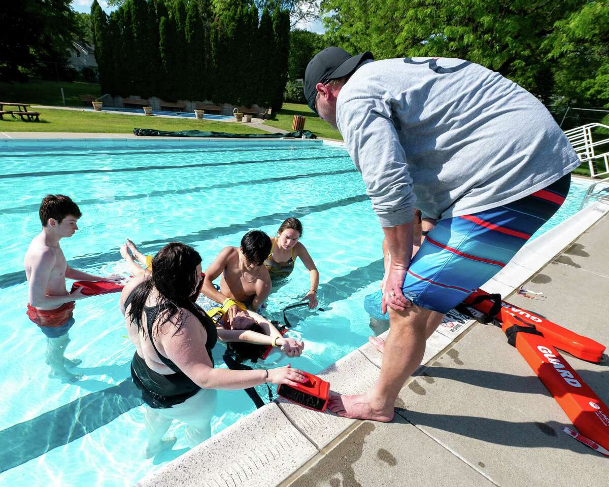 Brian Czerpak teaches a certification class to prospective lifeguards at the Country Knolls Pool in Clifton Park, NY, on Tuesday, June 1, 2021. Municipal pools in the Capital Region and Hudson Valley are experiencing lifeguard shortages. (Jim Franco/Special to the Times Union)
