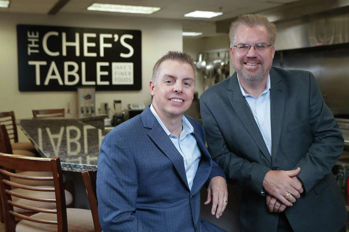 Jake's Finer Foods president Michael Bench (left) and CEO Kevin Ullrich Tuesday, June 1, 2021, in Houston.