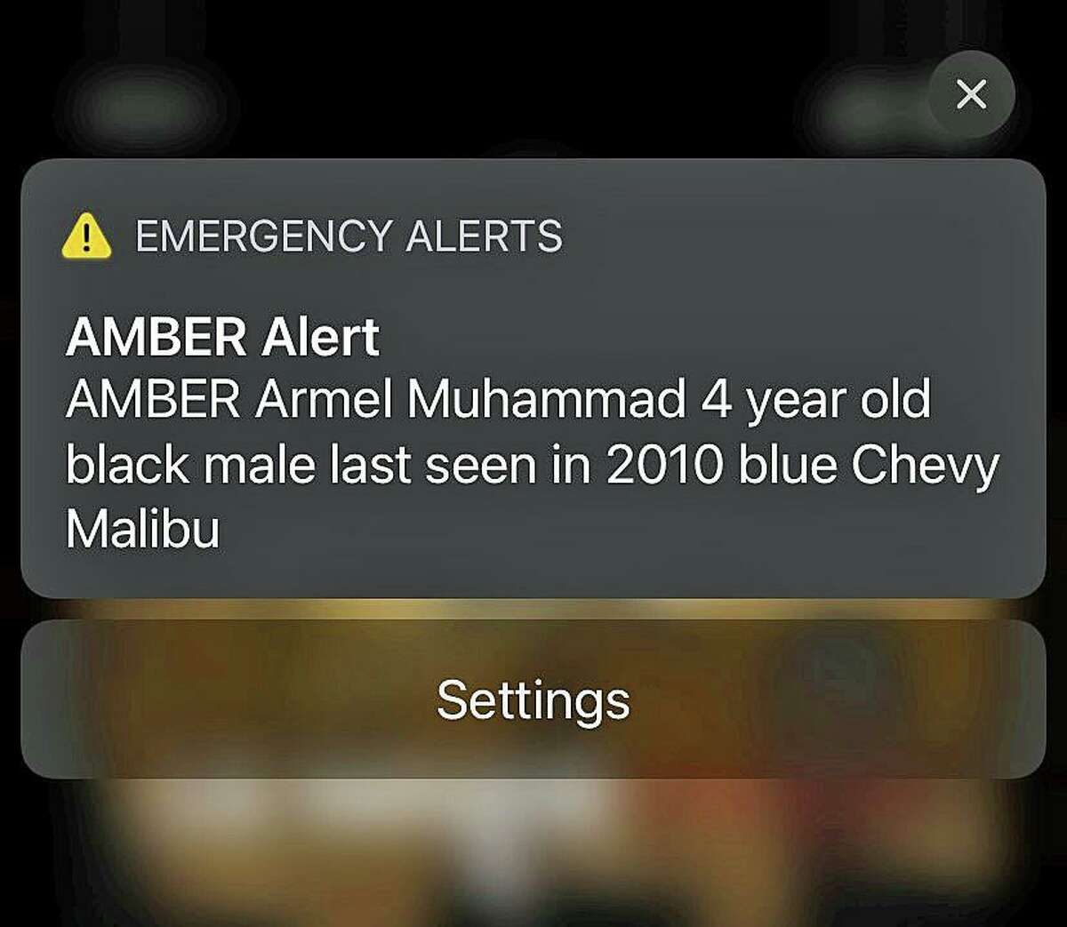A screenshot of the Amber Alert issued in Connecticut on Tuesday, June 1, 2021. Authorities issued a correction on the boy's name as Armel Muhammed soon after.