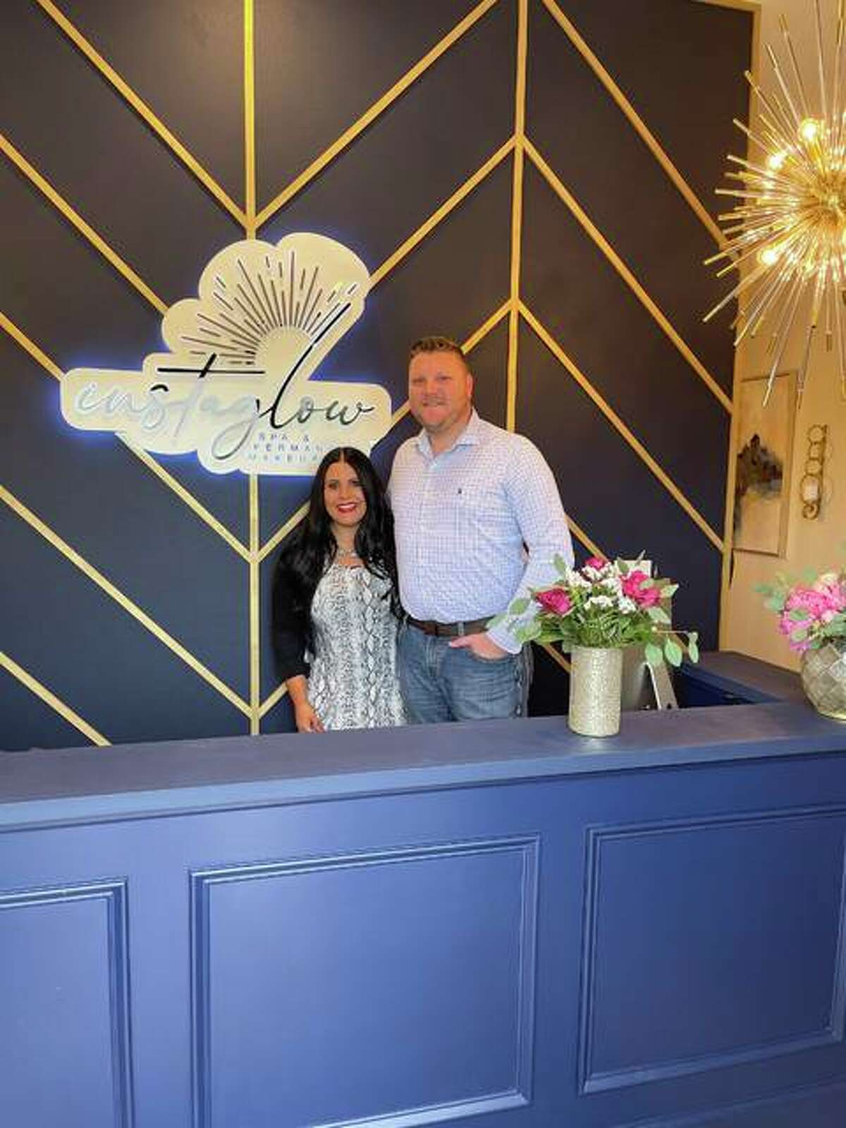 Lauren Strickland and her fiancée, Jay, at Instaglow Spa & Permanent Makeup