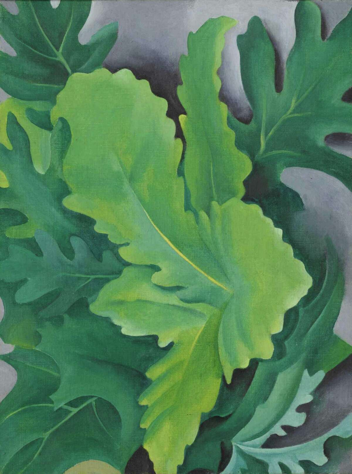 """Georgia O'Keeffe's """"Green Oak Leaves,"""" 1923, was sold at Sotheby's for just over $1.1 million on May 19. The Newark Museum of Art, the seller, said it would use the funds to support museum collections."""