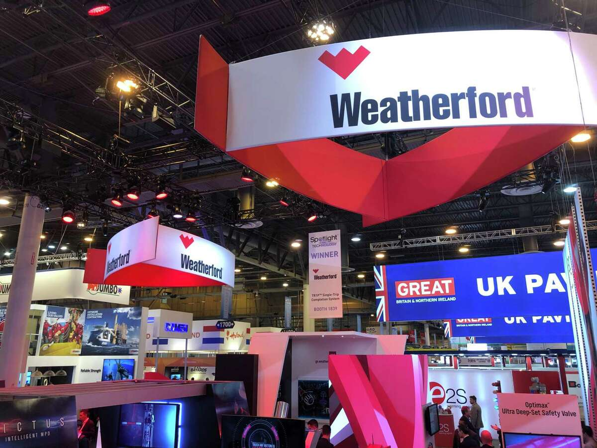 Weatherford International had a large booth the at the Offshore Technology Conference on Wednesday, May 8, 2019. Weatherford on Wednesday began trading on the Nasdaq stock market, another sign that the oil-field services giant is recovering from the worst oil bust in decades.