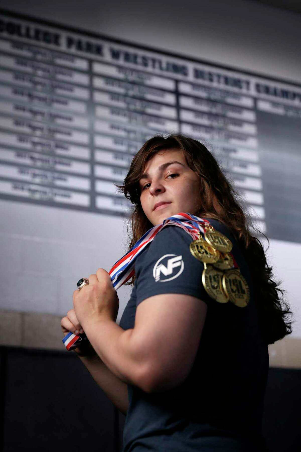 All Greater Houston Girls Wrestler of the Year Brittyn Corbishley of College Park High School in the wrestling room at the school Wednesday, May, 26, 2021 in The Woodlands, TX.