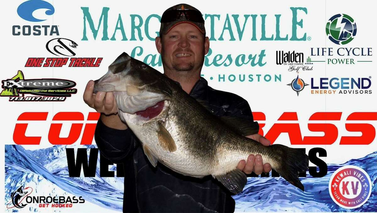 Evan Carlson had the big bass in the CONROEBASS Tuesday Tournament with a weight of 12.12 pounds.