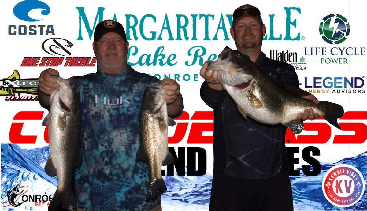 Tim and Evan Carlson came in first place in the CONROEBASS Tuesday Tournament with a weight of 21.68 pounds.