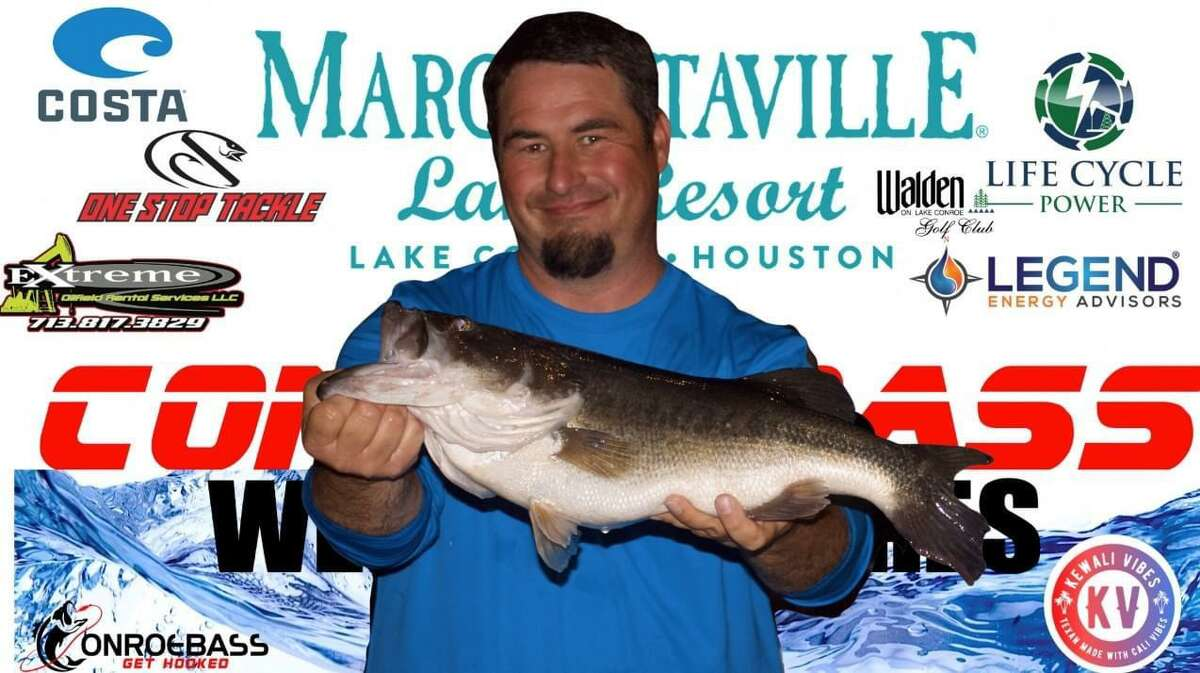 Matt Mizell came in first place in the CONROEBASS Thursday Big Bass Tournament with a weight of 7.39 pounds.