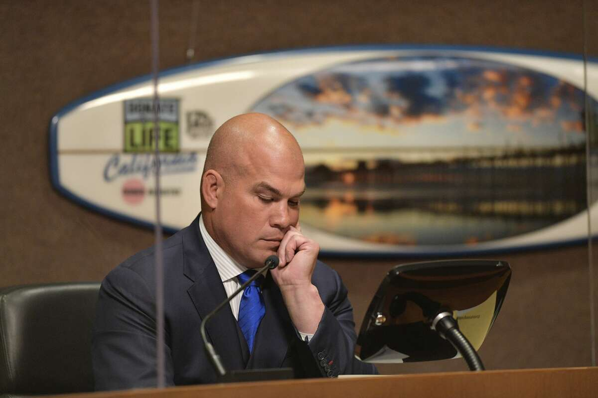 Mayor pro tem Tito Ortiz moments before he resigned his position during the Huntington Beach, CA, city council meeting on Tuesday, June 1, 2021.
